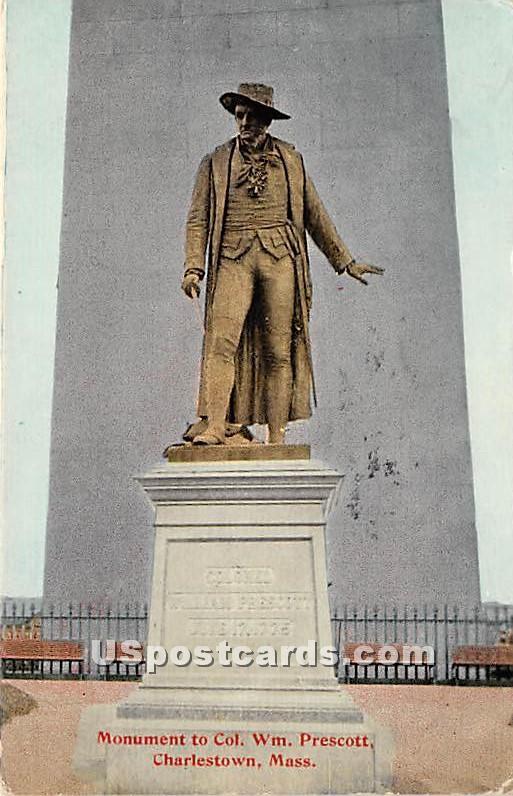 Monument to Col Wm Prescott - Charlestown, Massachusetts MA Postcard