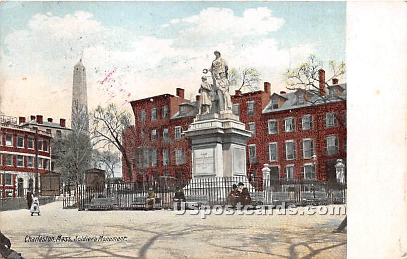 Soldier's Monument - Charlestown, Massachusetts MA Postcard