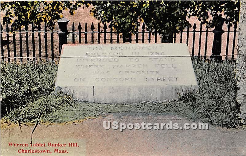 Warren Tablet Bunker Hill - Charlestown, Massachusetts MA Postcard