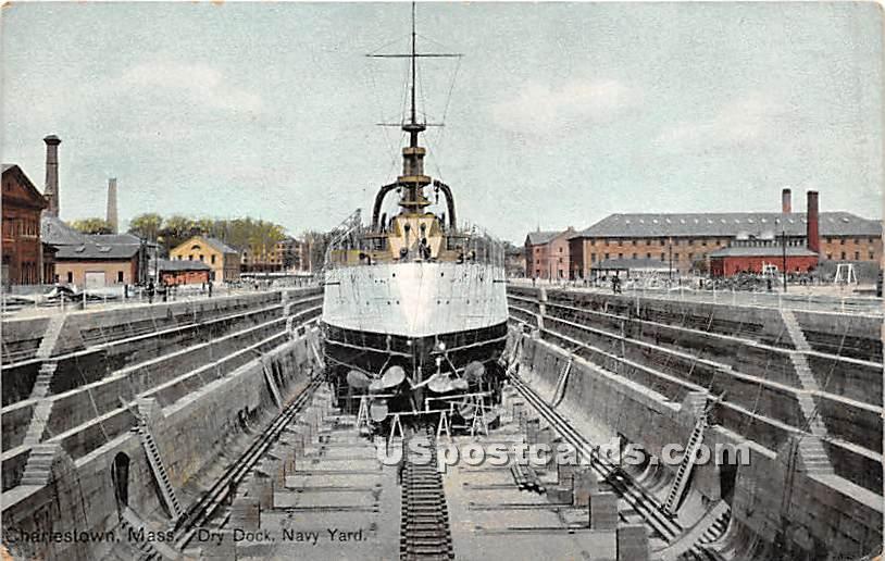 Dry Dock Navy Yard - Charlestown, Massachusetts MA Postcard