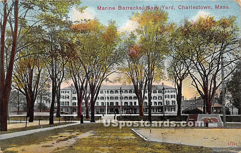 Marine Barracks at Navy Yard - Charlestown, Massachusetts MA Postcard