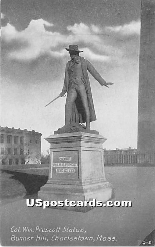Col Wm Prescott Statue at Bunker Hill - Charlestown, Massachusetts MA Postcard