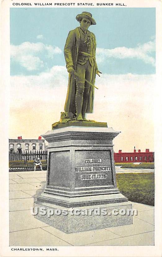 Colonel William Prescott Statue - Charlestown, Massachusetts MA Postcard