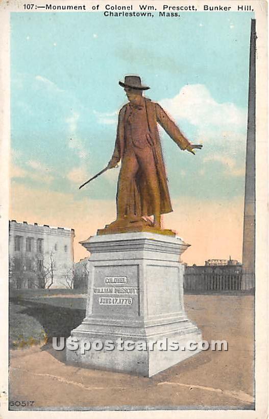Monument of Colonel Wm Prescott - Charlestown, Massachusetts MA Postcard