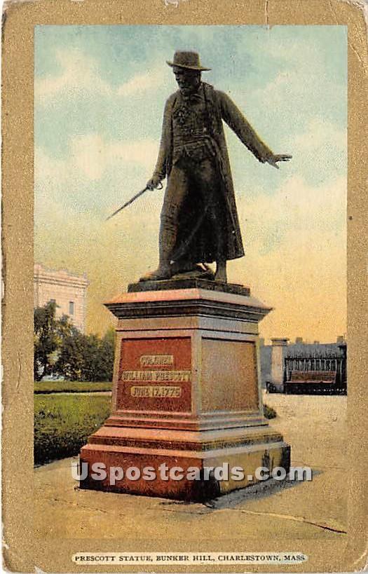 Prescott Statue at Bunker Hill - Charlestown, Massachusetts MA Postcard