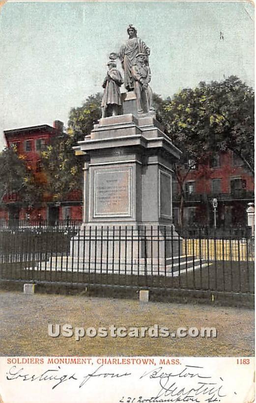 Soldiers Monument - Charlestown, Massachusetts MA Postcard