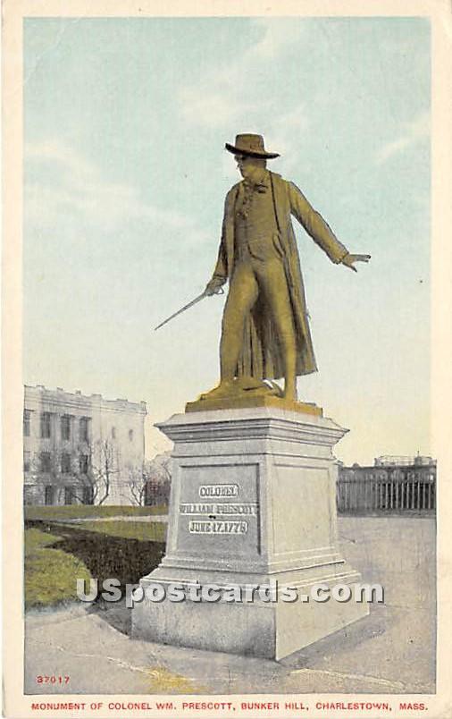 Monument to Colonel WM Prescott - Charlestown, Massachusetts MA Postcard