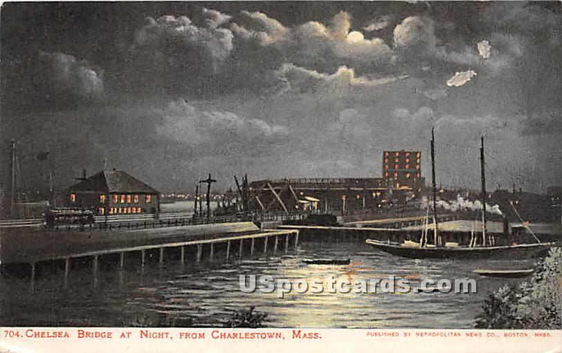 Chelsea Bridge at Night - Charlestown, Massachusetts MA Postcard