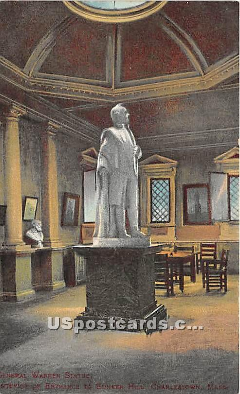 General Warren Statue - Charlestown, Massachusetts MA Postcard