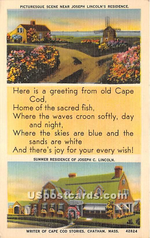 Picturesque Scene near Joseph Linicoln's Residence - Chatham, Massachusetts MA Postcard