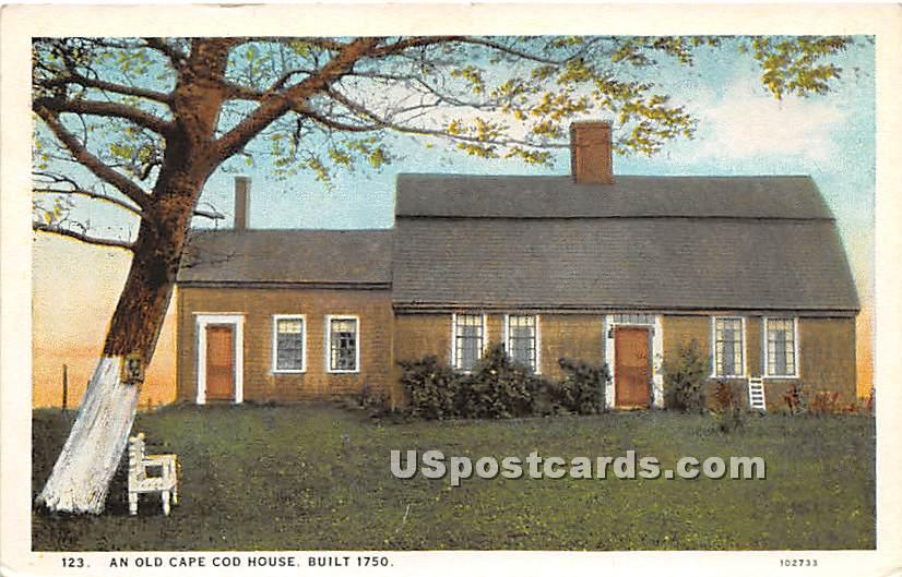 An Old Cape Cod House Built 1750 - Chatham, Massachusetts MA Postcard
