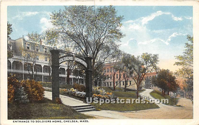 Entrance to Soldiers Home - Chelsea, Massachusetts MA Postcard