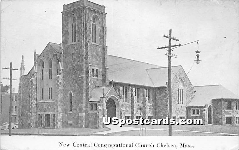 New Central Congregational Church - Chelsea, Massachusetts MA Postcard