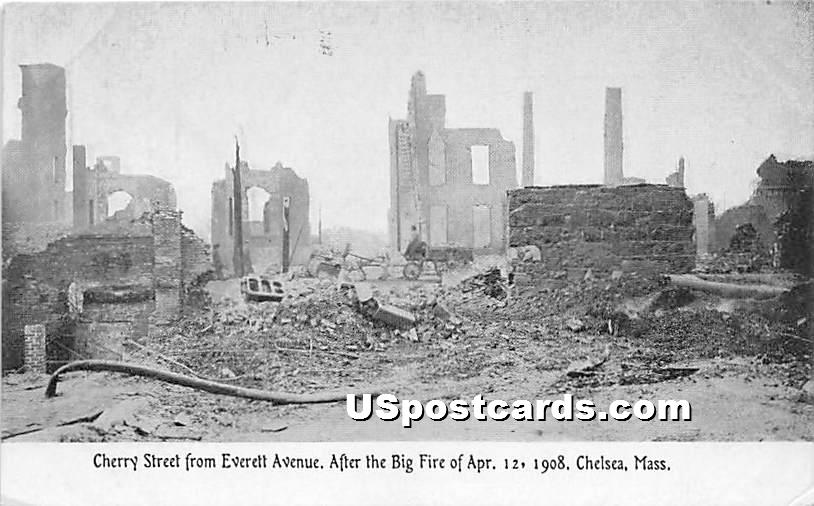 Cherry Street From Everett Avenue After the Big Fire of April 12, 1908 - Chelsea, Massachusetts MA Postcard