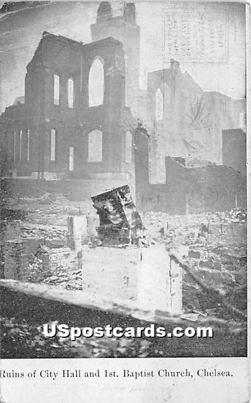 Ruins of City Hall & 1st Baptist Church - Chelsea, Massachusetts MA Postcard