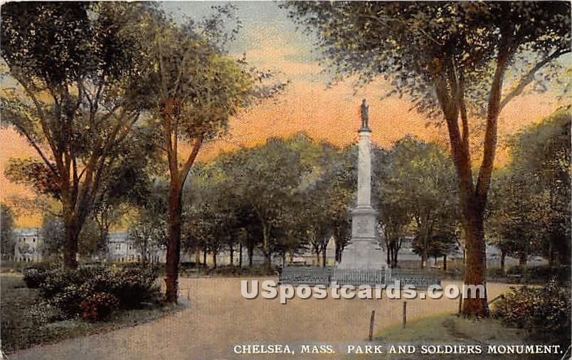 Park & Soldiers Monument - Chelsea, Massachusetts MA Postcard