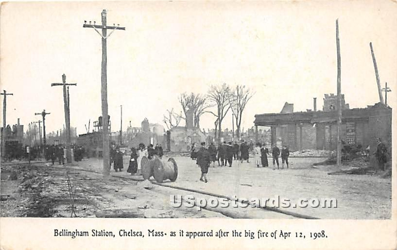 Bellingham Station after the Big Fire April 12, 1908 - Chelsea, Massachusetts MA Postcard
