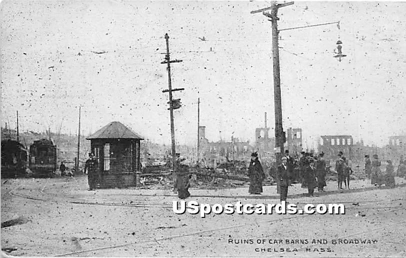 Ruins of Car Barns & Broadway - Chelsea, Massachusetts MA Postcard