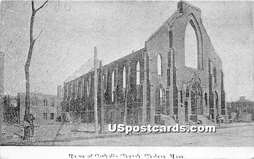 Ruins of Catholic Church - Chelsea, Massachusetts MA Postcard