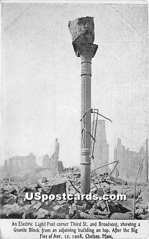 Electric Light Post corner Third St & Broadway - Chelsea, Massachusetts MA Postcard