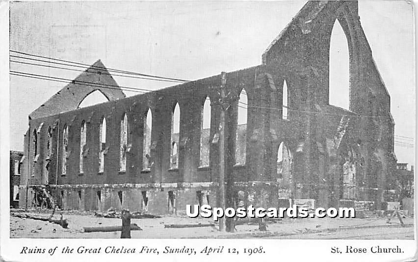 Ruins of the Great Chelsea Fire Sunday April 12, 1908 - Massachusetts MA Postcard