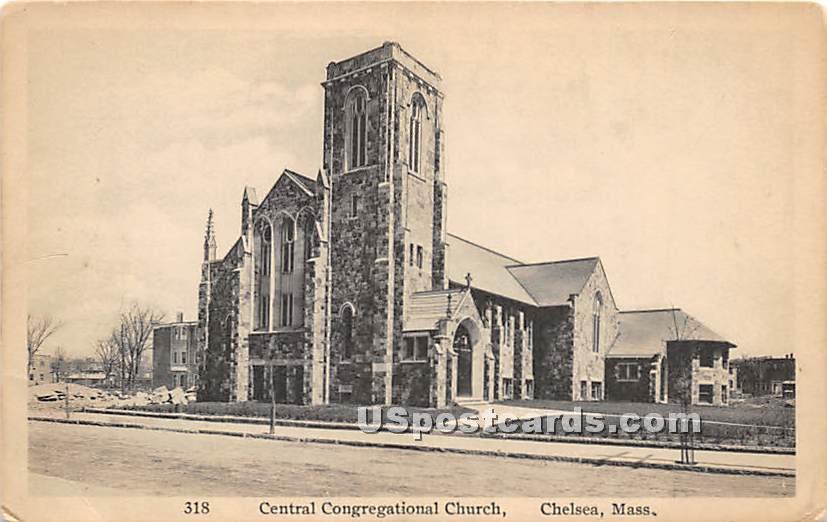 Central Congregational Church - Chelsea, Massachusetts MA Postcard