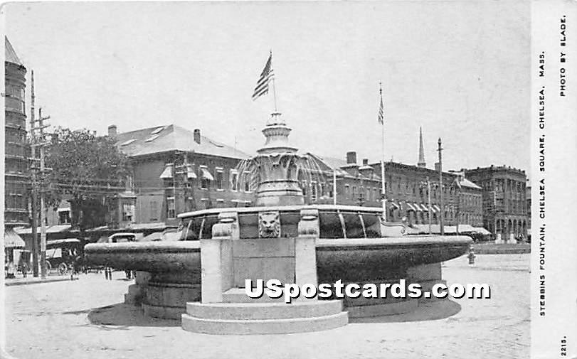 Stebbins Fountain in Chelsea Square - Massachusetts MA Postcard