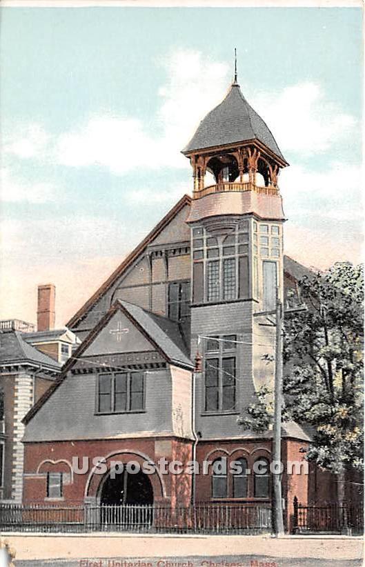 First Unitarian Church - Chelsea, Massachusetts MA Postcard