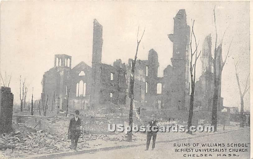 Ruins of Williams School - Chelsea, Massachusetts MA Postcard