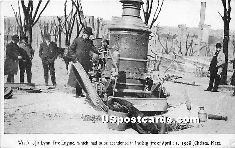 Wreck of a Lynn Fire Engine Big Fire April 12, 1908 - Chelsea, Massachusetts MA Postcard