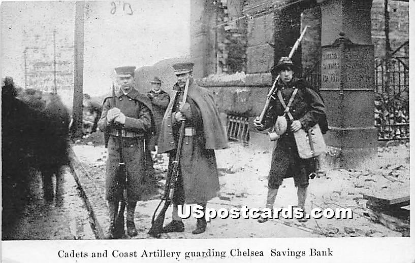Cadets & Coast Artillery guarding Chelsea Savings Bank - Massachusetts MA Postcard