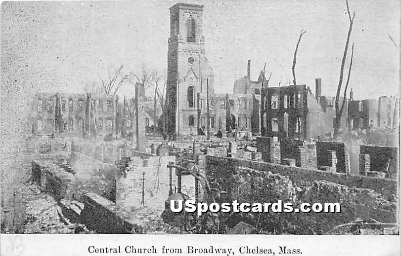 Central Church from Broadway - Chelsea, Massachusetts MA Postcard