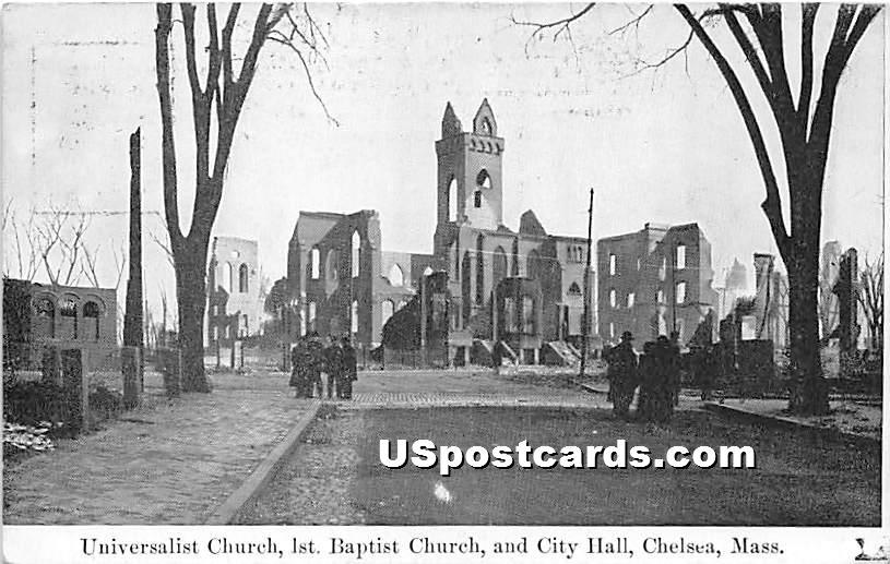 Universalist Church, 1st Baptist Church, & City Hall - Chelsea, Massachusetts MA Postcard