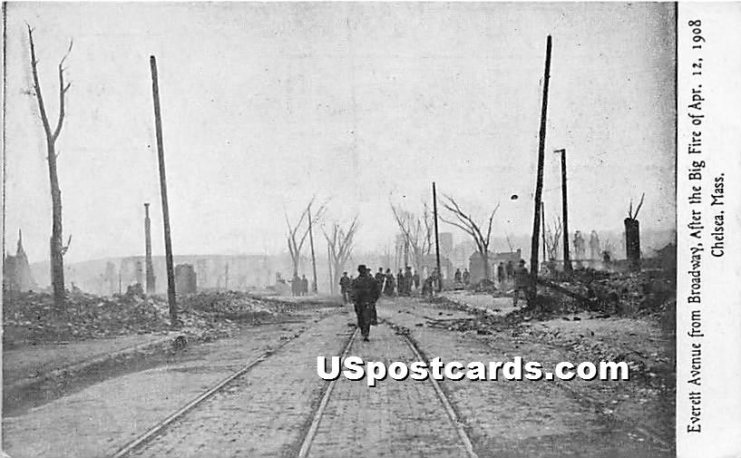 Everett Avenue from Braodway after Big Fire April 12, 1908 - Chelsea, Massachusetts MA Postcard