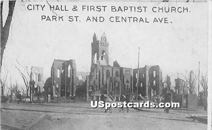City Hall & First Baptist Church - Chelsea, Massachusetts MA Postcard