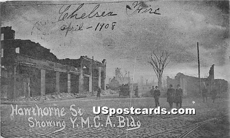 Hawthorne Street showing YMCA Building - Chelsea, Massachusetts MA Postcard