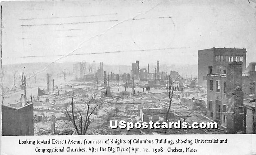 Everett Avenue from rear of Knights of Columbus Building - Chelsea, Massachusetts MA Postcard