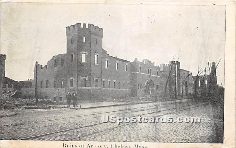 Ruins of Armory - Chelsea, Massachusetts MA Postcard
