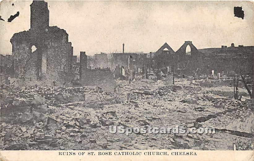 Ruins of St Rose Catholic Church - Chelsea, Massachusetts MA Postcard