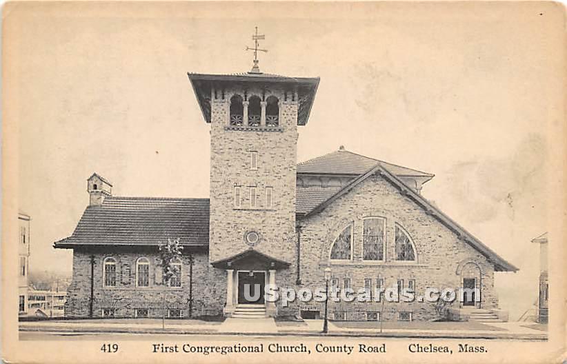 First Congregational Church & County Road - Chelsea, Massachusetts MA Postcard