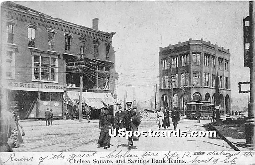 Chelsea Square & Savings Bank Ruins - Massachusetts MA Postcard