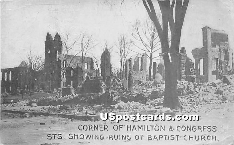 Corner of Hamilton & Congress Streets showing Ruins of Baptist Church - Chelsea, Massachusetts MA Postcard