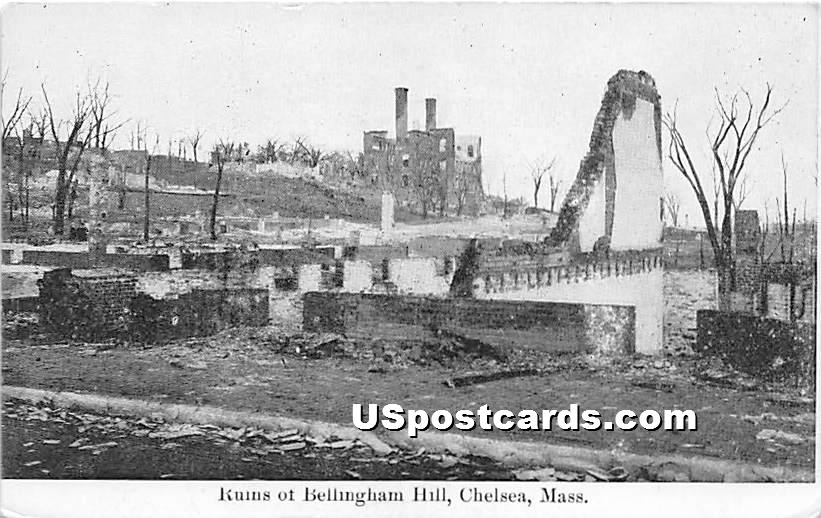 Ruins of Bellingham Hill - Chelsea, Massachusetts MA Postcard