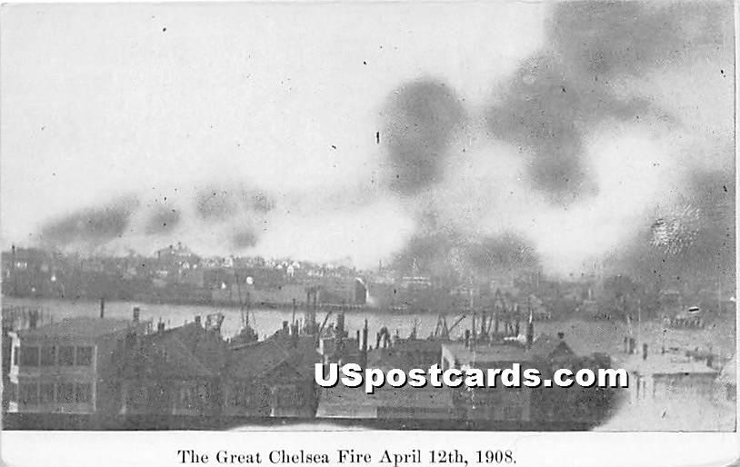 The Great Chelesa Fire April 12, 1908 - Chelsea, Massachusetts MA Postcard