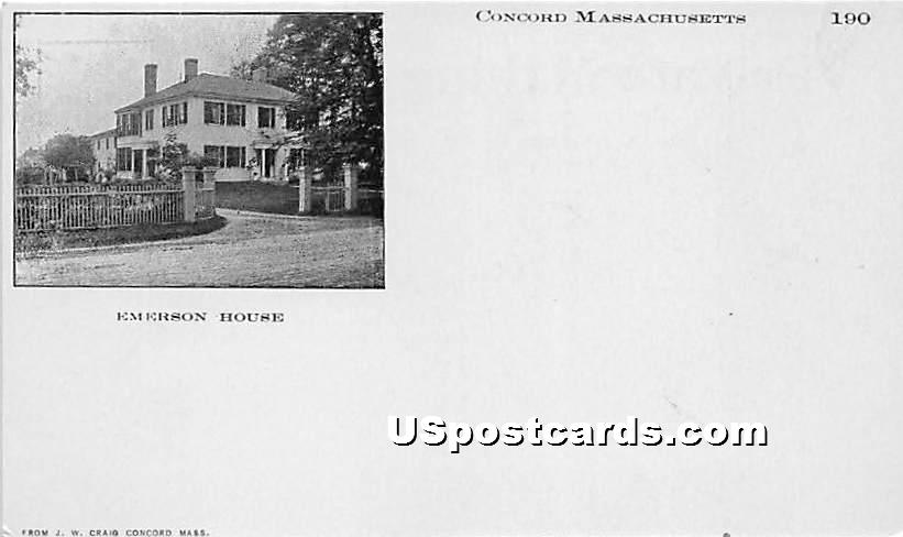 Emerson House - Concord, Massachusetts MA Postcard
