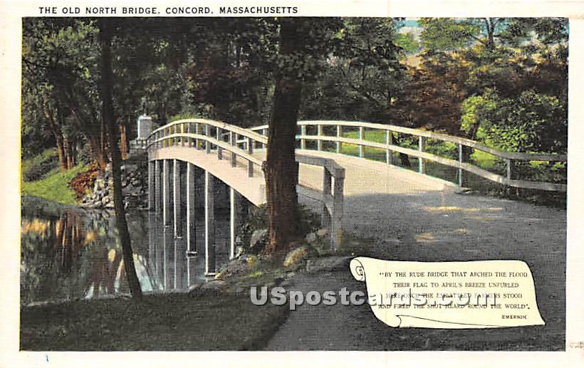 The Old North Bridge - Concord, Massachusetts MA Postcard