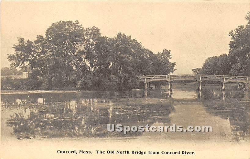 The Old North Bridge from Concord River - Massachusetts MA Postcard