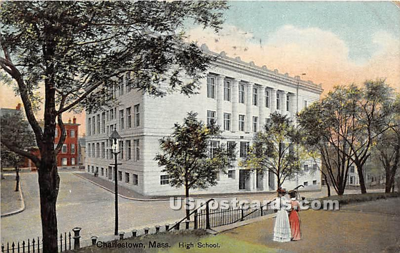 High School - Charlestown, Massachusetts MA Postcard
