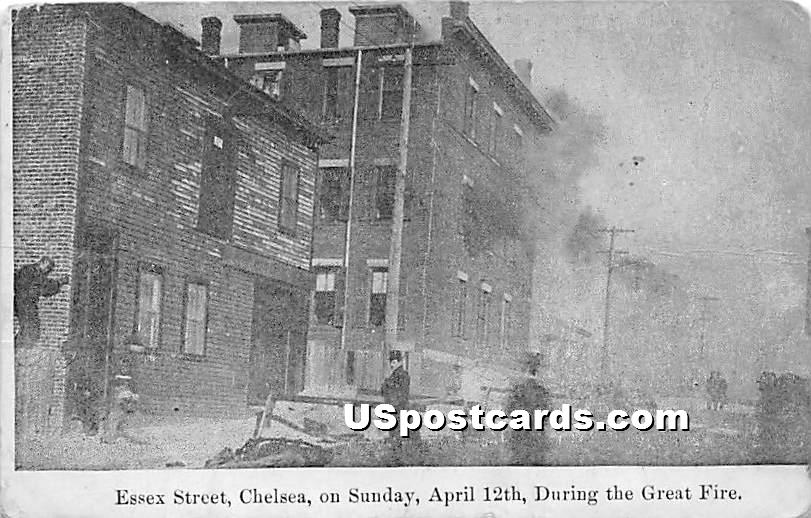 Essex Street on Sunday April 12, 1908 During the Great Fire - Chelsea, Massachusetts MA Postcard