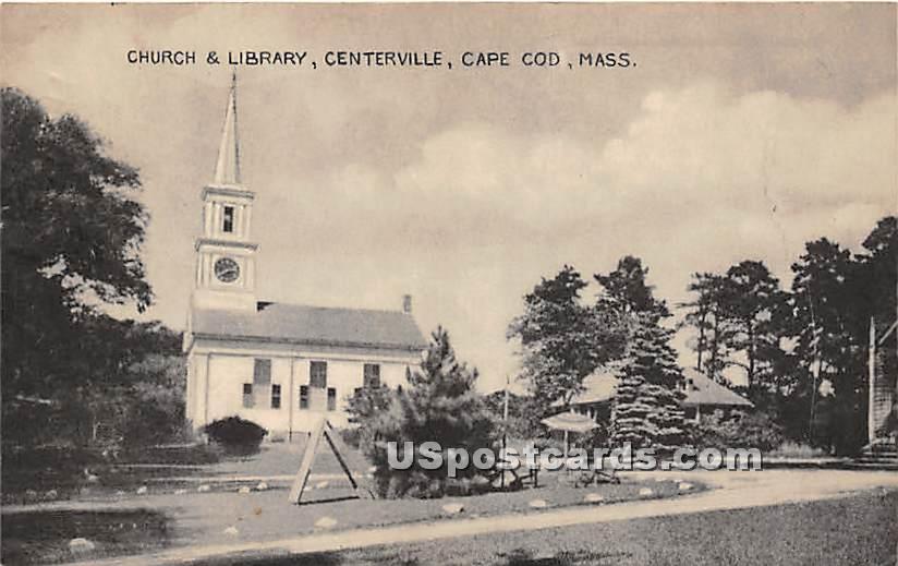 Church & Library - Centerville, Massachusetts MA Postcard